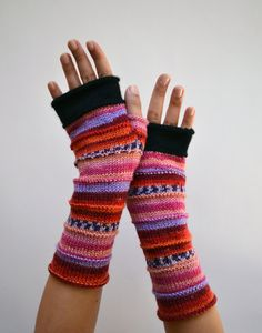 Pink merino wool arm warmers, Christmas gift for daughter, Pink wool gloves,Striped gloves Striped Gloves, Grey Gloves, Wool Gloves, Knitted Gloves, Fingerless Gloves, Wool Yarn, Merino Wool, Half Gloves, Knit Or Crochet