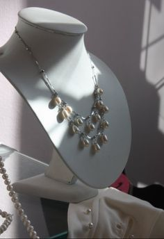 White Fresh Water Pearls on a Silver Necklace  Available at www.PearlsAndCake.com