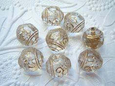 Crystal and gold antiqued 15mm round ornate by MarilynsNewVintage, $3.65