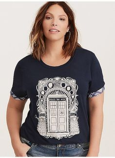 740f1043546 TORRID   Doctor Who Plaid Trim Crew Tee Plus Size Tees