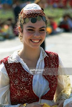 Woman in traditional costume during Nowruz day (spring festival), Tirana, Albania. Folk Costume, Costumes, Albanian Culture, Tirana Albania, Folk Clothing, Spring Festival, Trotter, Ethiopia, Folklore