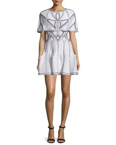 -6GWP Herve Leger Contrast-Stitch Poncho, Alabaster/Combo Godet-Pleated Tank Dress, Alabaster/Combo