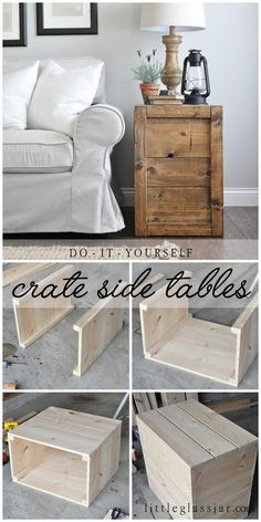 Make these rustic, farmhouse style DIY Crate Side Tables for your living room or bedroom! Diy Home Decor Rustic, Easy Home Decor, Modern Decor, Rustic Furniture, Home Furniture, Furniture Design, Antique Furniture, Timber Furniture, Modern Furniture