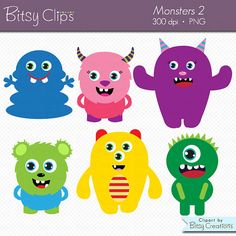 Cute Monsters Clipart Digital Art Set Commercial Use by BitsyClips