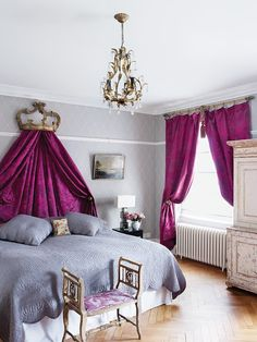 gray and purple french glamour bedroom.