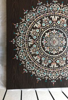 """Custom wall art is so easy to create when using one of our pretty stencil patterns. Nidhi Shah crafted her own work of art using our Prosperity Stencil. She shared, """"Thank you for the beautiful mandala stencil. I used it on canvas for a huge piece of wall art, 4 feet by 4 feet. """"Find the Prosperity Mandala Stencil: http://www.cuttingedgestencils.com/prosperity-mandala-stencil-yoga-mandala-stencils-designs.html"""