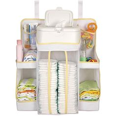 Dex Baby Nursery Organizer Easily attachs to changing table, wall, door or dresser Holds electric wipe warmer or wipe containers Diaper Storage, Diaper Organization, Diaper Caddy, Baby Nursery Organization, Baby Storage, Nursery Storage, Organization Ideas, Storage Cart, Storage Shelves