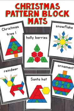 Christmas pattern block shape mats are a fun hands on activity that your students will love. This STEM activity is perfect for morning work mat centers or early finishers in a kindergarten classroom. Includes 10 different pictures for students to build. Christmas Math, Noel Christmas, Christmas Themes, Kindergarten Christmas, Xmas, Christmas Bedroom, Christmas Pictures, Handmade Christmas, Christmas Crafts