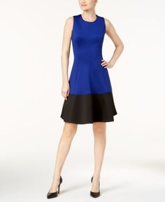 Calvin Klein Colorblocked Fit & Flare Dress - Blue 16