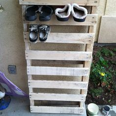 shoerack ;)  We needed this by our trampoline when all the kids lived at home!!