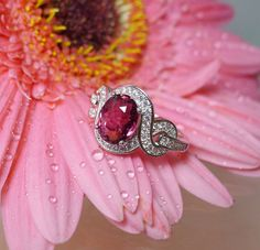Pink Tourmaline Ring Rare Sterling Silver White Topaz Halo One of a Kind