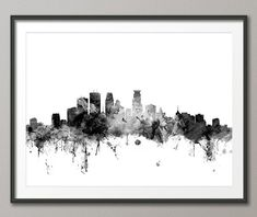 Minneapolis Skyline, Minneapolis Minnesota Cityscape Art Print (1447)
