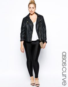ASOS CURVE - Legging With High Waist In Shimmer Disco