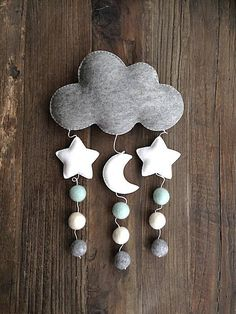 Slightly bigger than our mini cloud mobiles, this cloud mobile with moon & stars is the perfect for hanging on a door, on a wall, by the window, or over your little ones crib or cot. Made from a high quality soft 100% wool felt with felt balls in mint, natural light grey and ivory white