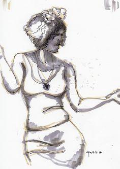 George Mellen - woman dancing - marker and fountain pen