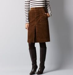 I've got a short brown corduroy skirt for fall..love the striped shirt paired with it!