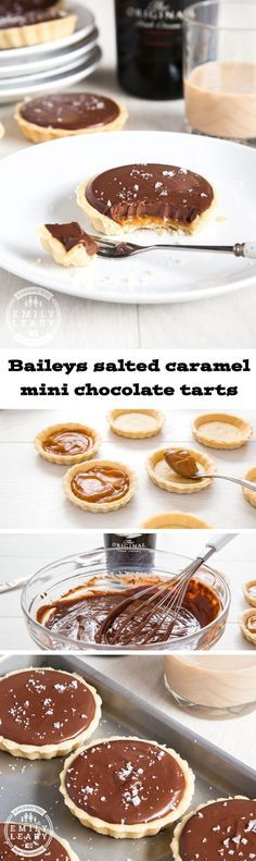 Baileys salted caramel mini chocolate tarts. Stunningly delicious. Sweet shortcrust pastry, a layer of salted caramel, topped with creamy Baileys and chocolate ganache, and finished with a sprinkle of salt to bring out the flavour.