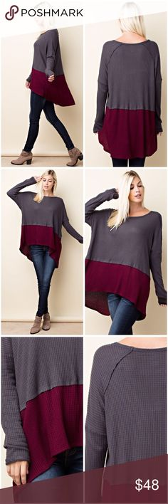 Charcoal and burgundy thermal tunic! THERMAL FABRICATION WITH CONTRAST COLOR DETAIL WITH PULL OVER OVERSIZED FIT TOP. Tops Tunics