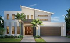 GJ Gardner Home Designs: Twin Waters 300 - Facade Option Visit… Modern House Plans, Small House Plans, Modern House Design, Home Design, Modern Exterior, Exterior Design, Bungalow Haus Design, Small Modern Home, House Elevation