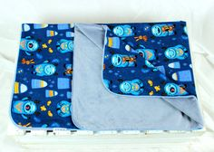Minky Baby Blanket for Girl and Boy yeti blue  Nuva by NuvaArt