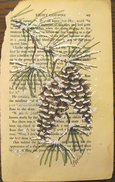 snow pine cones - stamped on book page