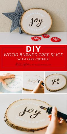 "DIY Wood Burned ""Joy"" Tree Slice with Free SVG. KatieJarman.com for Dawn Nicole Designs"