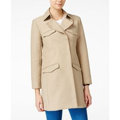 Armani Exchange Trench Coat ($240) ❤ liked on Polyvore featuring outerwear, coats, khaki, khaki coat, lightweight coats, lightweight trench coat, pink trench coat and pink coat