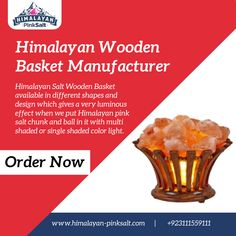 We are certified manufacturer of Himalayan wooden basket from Pakistan. An ideal addition to any room in your house, a wooden basket can add a lot to its décor. For order Contact us: (+92) 311-1559111 Email: info@himalayan-pinksalt.com #himalayan_salt_wall #himalayan_salt_usblamp_exporter #himalayan_salt_manufacturer #himalayan_salt_exporter #himalayan_pinksalt_exporter #himalayanpinksalt #Himalayanediblesalt Himalayan Salt Bath, Wooden Basket, Different Shapes, Light Colors, Natural Colors, Healthy, Pakistan, Fill, Room