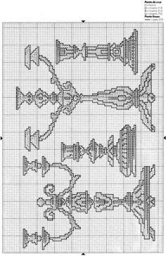 Fancy candlesticks cross stitch pattern icon with DMC labeling