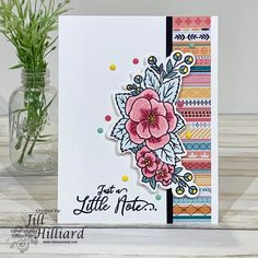 Easy to make colorful card using Spring Pansies Cluster stamp set and die from Stamp Simply Clear Stamps with Kaisercraft Paisley Days collection To Color, Color Card, Ribbon Store, Some Cards, Card Maker, Clear Stamps, Pansies, Stampin Up Cards, Cardmaking