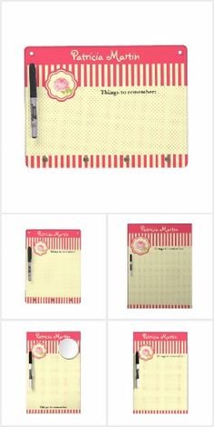 Red Stripes, Polkadots and a Rose Office - Enjoy the red and light yellow cute design of all those products for your office like business cards, dry erase boards, pens, notepads, binders etc featuring your name or message, often a tagline or title, stripes and polkadot backgrounds and a rose in a label - all available at zazzle.com/coloripastello*