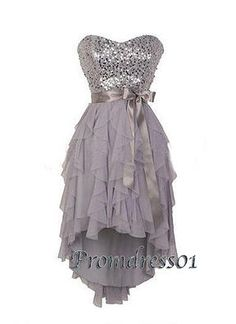 2015 cute sweetheart strapless sparkly sequins grey chiffon satin layered short prom dress for teens, homecoming dress, ball gown, evening dress, bridesmaid dress #promdress #wedding