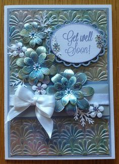 This picture does not do this justice. The shimmer is amazing! Card Kit, Card Tags, Inka Gold, Heartfelt Creations Cards, Scrapbooking, Making Greeting Cards, Embossed Cards, Get Well Cards, Sympathy Cards