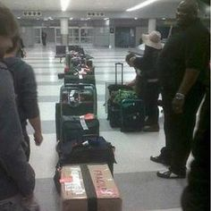 All of the luggage the boys take on tour...