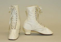 Shoes Date: 1840s Culture: American Medium: leather, cotton
