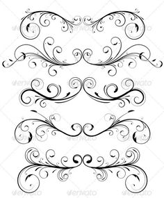 Floral elements by PixelEmbargo Vector set of floral decorative ornament page rules
