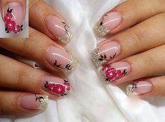 Floral Nails Designs  Free Nail Technician Information   http://www.nailtechsuccess.com/nail-technicians-secrets/?hop=megairmone