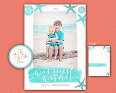 Beach Holiday Photo Card Warmest Holiday by ThePattyCakePress