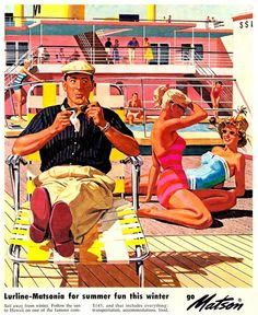Vintage 1950s ad for Matson with ladies and man on a boat. #50s
