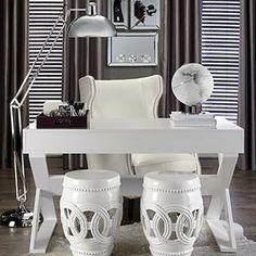 Jett Desk - White Lacquer with garden stools on opposite side