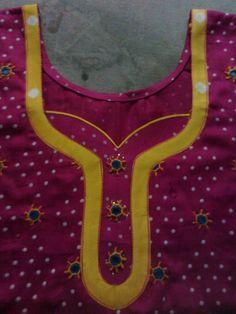 Different types of kurtis neck designs - Art & Craft Ideas neck Chudithar Neck Designs, Neck Designs For Suits, Neckline Designs, Blouse Neck Designs, Hand Designs, Salwar Kameez Neck Designs, Churidar Designs, Kurti Sleeves Design, Kurta Neck Design