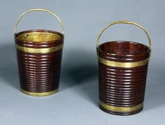 Irish peat buckets - Stock - Moxhams Antiques