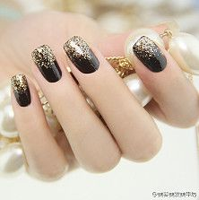 Black nails with glitter tips