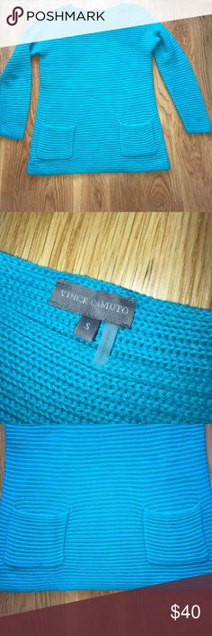 Vince Camuto Sweater Good pre-loved condition size small sweater by Vince Camuto. Front pocket detail and neck style is slightly boat neck, chest measurement pit  to pit 19 inches. Length from collar to bottom hem 25 inches. Size small. Some pilling. Vince Camuto Sweaters Crew & Scoop Necks