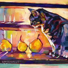 """Pears on Stairs and a Cat"" par Karen Mathison Schmidt"
