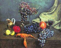 Машков Илья Иванович - 1924 Натюрморт. Виноград, Лимон И Рак. Х., М. 68x85 Гтг (1000х784)    Нажмите для просмотра в полный размер.