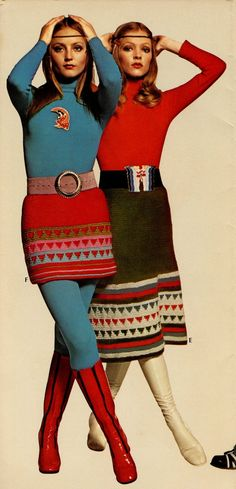 Knits such as these were very popular during the 1970's. Here we see a combo of 70's trends: go-go boots, tights, turtlenecks, headbands, wide belts, skirts of all lengths, and straight/middle-parted hair.
