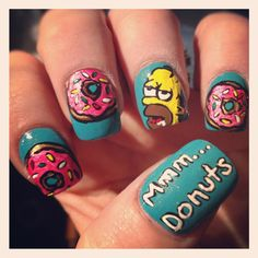 Mmm.. Donuts Simpsons Nails