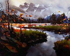 Towards the Columbia Icefields, by Michael O'Toole Paintings I Love, Beautiful Paintings, Beautiful Landscapes, Abstract Landscape, Landscape Paintings, Abstract Art, Pictures To Paint, Cool Pictures, Beautiful Pictures