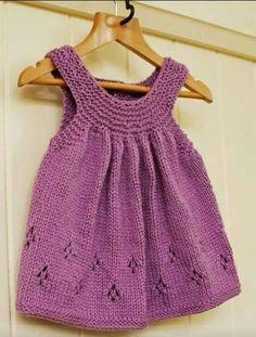Girl's hand knit tunic top – Hand Knitting Crochet Baby Dress Pattern, Knit Baby Dress, Baby Dress Patterns, Knitted Baby Clothes, Baby Knitting Patterns, Baby Cardigan, Crochet Patterns, Knitting For Kids, Hand Knitting